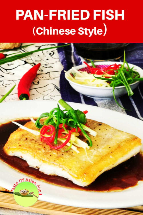 Pan-fried fish fillit with a classic Chinese soy sauce, topped with ginger, scallion and chili. On the whole, it is a hybridized dish of Asian and Western cuisines.  The fish is pan-fried entirely in Western-style, and the sauce is authentically Cantonese.