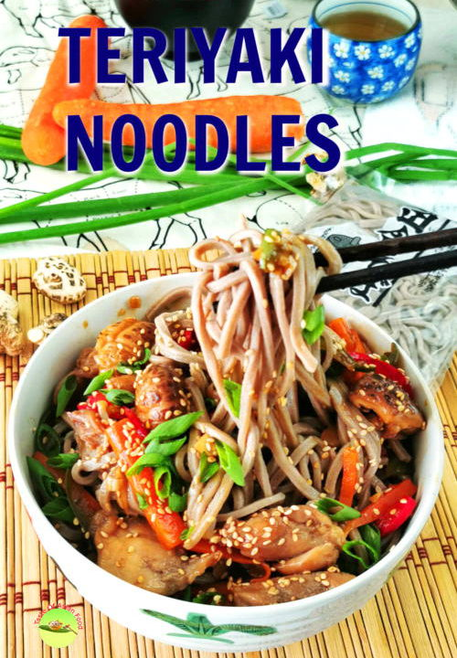 Teriyaki noodles with chicken and soba. Delicious one pot meal.