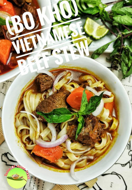 Incredibly flavorful. Cooked with Bo Kho spices and annatto powder,  carrots, and basils. Best to serve with banh mi and rice noodles.