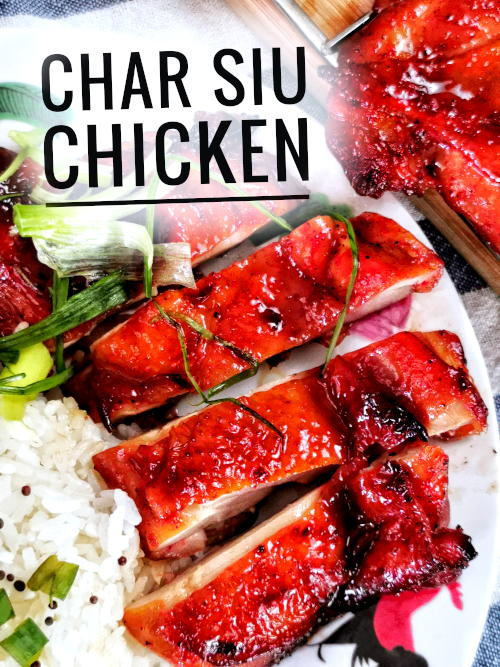 Char siu can be prepared with chicken, not just pork alone.  Here is the recipe for char siu chicken.  Cha siu chicken is an improvisation from the traditional cha siu prepared with pork belly and shoulder loin. The flavor of char siu chicken is as good as pork when it is made with skin-on deboned chicken thigh.
