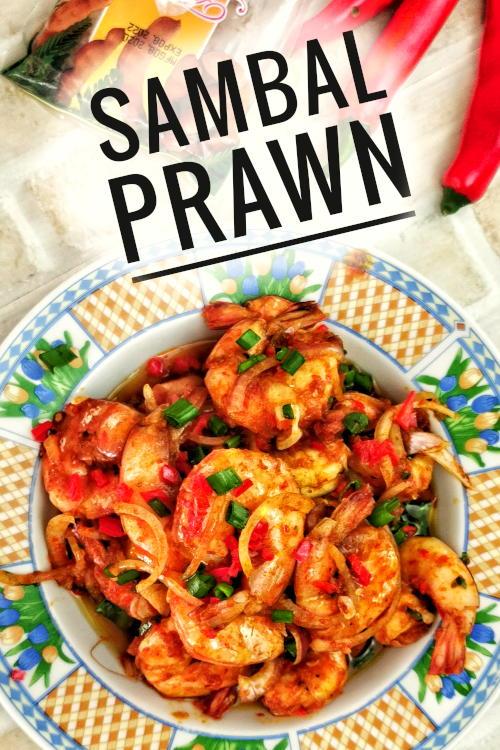 Sambal prawn (sambal udang) is the favorite Malaysian dish prepared with sambal tumis, a relish made with chilies, tamarind, dried shrimps, and belacan.