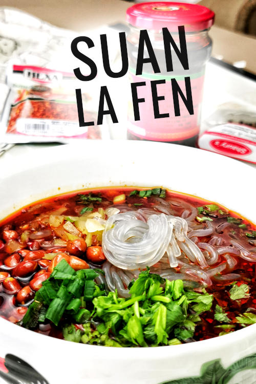 Suan la fen (酸辣粉) is typical street food with all the characteristics of Szechuan food.  The sauce is made with Szechuan peppercorns, chili flakes, Chinkiang vinegar, and chili oil. Besides the essential ingredients, you can add minced pork, beef stew, and braised pork intestine.