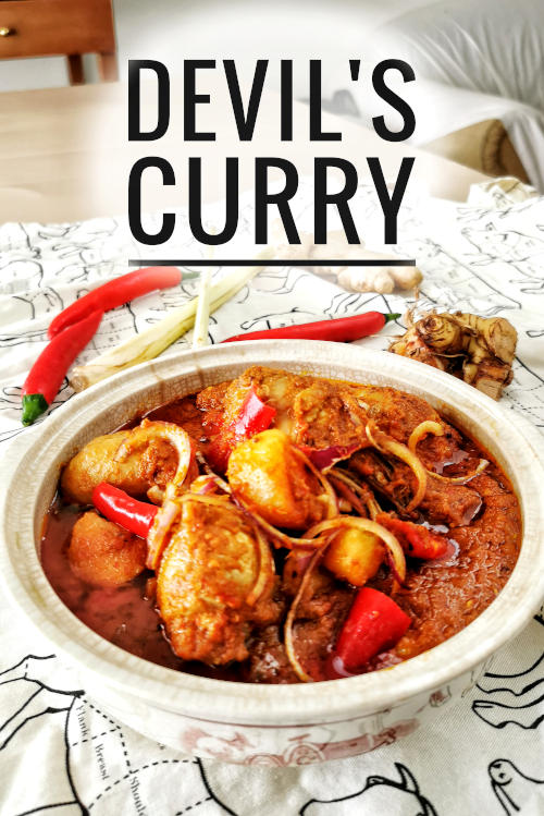 Devil's curry is the name given to traditional dishes from Malacca's Portuguese community. It is another name given to the Debal curry, which is usually served during Christmas. The curry is supposed to be very spicy (which I toned down the heat in my recipe), and the color looks fiercely hot and spicy, which is why it is fondly called Devil's curry.